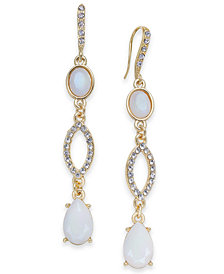 I.N.C. Gold-Tone Stone & Pavé Linear Drop Earrings, Created for Macy's