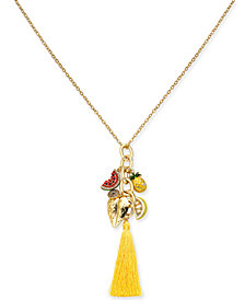 "I.N.C. Gold-Tone Pavé Fruit Charms & Tassel pendant Necklace, 36"" + 3"" extender, Created for Macy's"