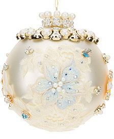 Mark Roberts King's Jeweled White Ball Ornament