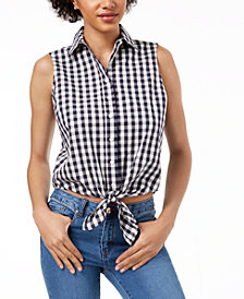 Maison Jules Cotton Checked Front-Tie Top, Created for Macy's