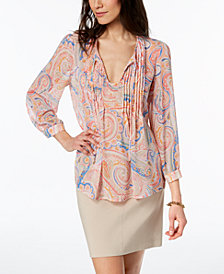 Tommy Hilfiger Printed Tie-Front Top, Created for Macy's