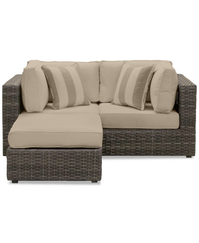 Viewport Outdoor 3-Pc. Modular Seating Set (2 Corner Units and 1 Ottoman) with Custom Sunbrella® Cushions, Created for Macy's