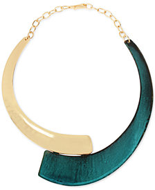 "Robert Lee Morris Soho Gold-Tone & Patina Statement Necklace, 16"" + 3"" extender"
