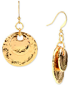 Charter Club Gold-Tone Hammered Double Disc Drop Earrings, Created for Macy's