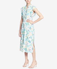 Catherine Catherine Malandrino Printed Belted Midi Dress