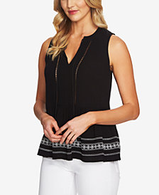 CeCe Embroidered Tassel-Tie Top