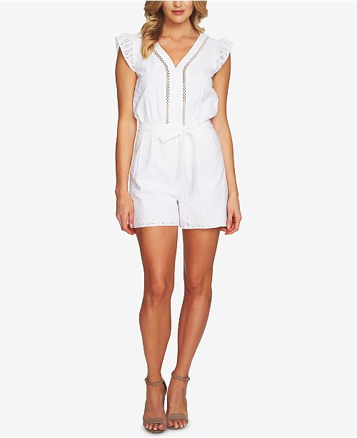 32ec49004cf0 CeCe Cotton Eyelet Romper   Reviews - Shorts - Women - Macy s