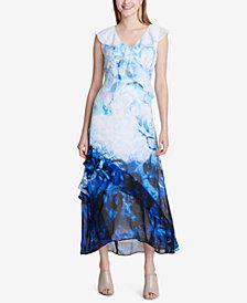 Calvin Klein Ombré Ruffle Maxi Dress