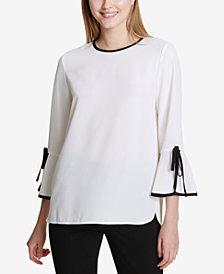 Calvin Klein Colorblocked-Trim Bell-Sleeve Top