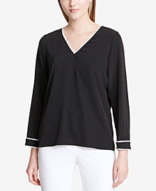 Calvin Klein V-Neck Colorblock-Trim Top