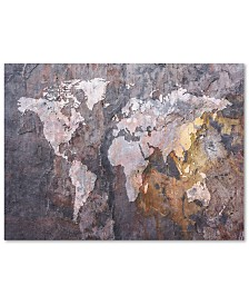 "Michael Tompsett 'World Map - Rock' Canvas Art - 47"" x 35"""