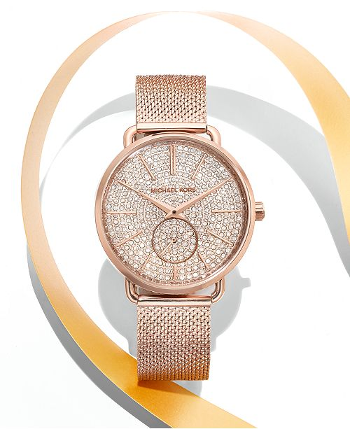 26d1a835a51a ... Michael Kors Women s Portia Rose Gold-Tone Stainless Steel Mesh  Bracelet Watch 36mm
