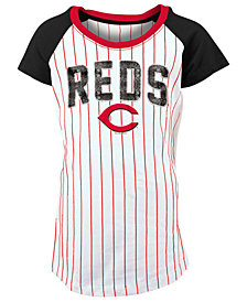 5th & Ocean Cincinnati Reds Sequin Pinstripe T-Shirt, Girls (4-16)