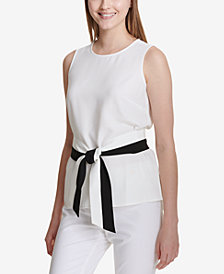 Calvin Klein Colorblocked Belted Top