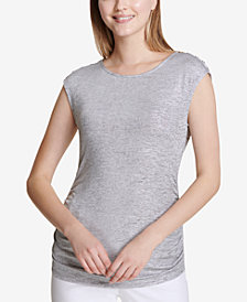 Calvin Klein Button-Shoulder Cap-Sleeve Top