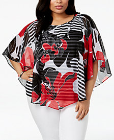 Alfred Dunner Barcelona  Plus Size Floral-Print Poncho Top