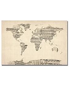"""Michael Tompsett 'Old Sheet Music World Map' Canvas Art - 24"""" x 18"""""""
