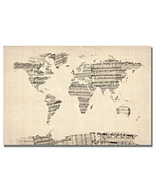 "Michael Tompsett 'Old Sheet Music World Map' 30"" x 47"" Canvas Art Print"