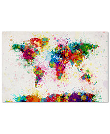 "Michael Tompsett 'Paint Splashes World Map' 22"" x 32"" Canvas Art Print"