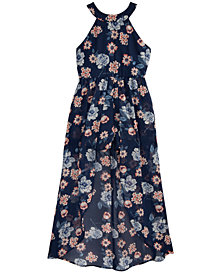 Crystal Doll Big Girls Floral-Print Maxi-Overlay Romper