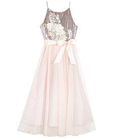 Pink & Violet Big Girls Sequin Embroidered Dress