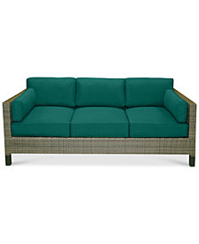 North Port Wicker Outdoor Sofa with Custom Sunbrella® Cushions, Created for Macy's