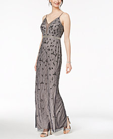Adrianna Papell Beaded Chiffon Column Gown