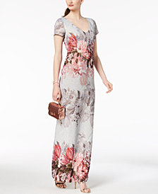 Adrianna Papell Printed Matelassé Gown