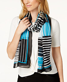 Calvin Klein Geo Grid Shadow Chiffon Cover-Up & Scarf