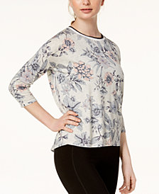 Calvin Klein Performance Floral-Print 3/4-Sleeve Top