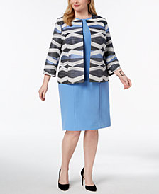 Kasper Plus Size Jacquard Open-Front Jacket & Sheath Dress