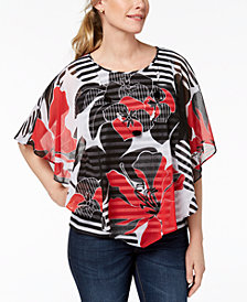Alfred Dunner Floral-Print Overlay Top