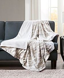 "Sachi Oversized 60"" x 70"" Printed Faux-Fur Throw"