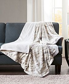 "Madison Park Sachi Oversized 60"" x 70"" Printed Faux-Fur Throw"