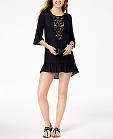 Roxy Crochet Bell-Sleeve Cover-Up