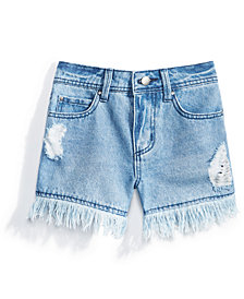 Nowadays Fringe-Trim Denim Shorts, Big Girls & Juniors