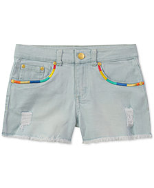 Tommy Hilfiger Embroidered Frayed-Hem Denim Shorts, Big Girls
