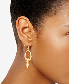 Charter Club Gold-Tone Interlocking Oval Ring Drop Earrings, Created for Macy's