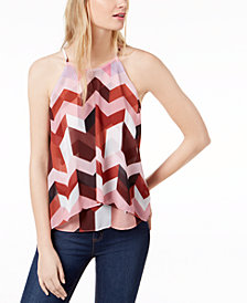 Bar III Printed Layered-Look Top, Created for Macy's