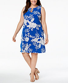 MSK Plus Size Printed Three-Ring Dress