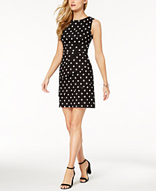 Connected Polka-Dot Tiered Sheath Dress