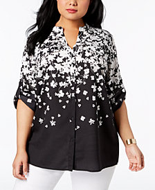 Calvin Klein Plus Size Printed Roll-Tab Shirt