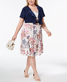 R & M Richards Plus Size Belted Printed Lace Dress & Ruffle Jacket