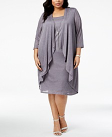 Plus Size Shimmer Draped Jacket Dress