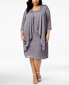 R & M Richards Plus Size Shimmer Draped Jacket Dress