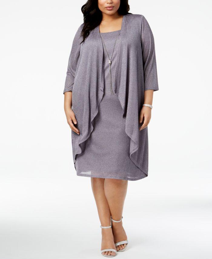 R & M Richards Plus Size Shimmer Draped Jacket Dress & Reviews - Dresses - Women - Macy's