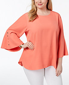 Calvin Klein Plus Size Buttoned Bell-Sleeve Tunic
