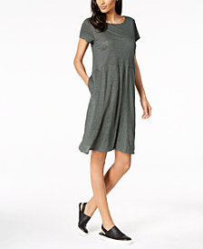Eileen Fisher Organic Linen A-Line Dress, Regular & Petite