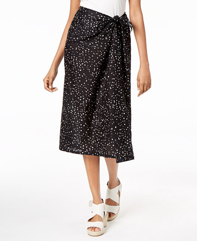 Eileen Fisher Organic Cotton Printed Faux-Wrap Skirt