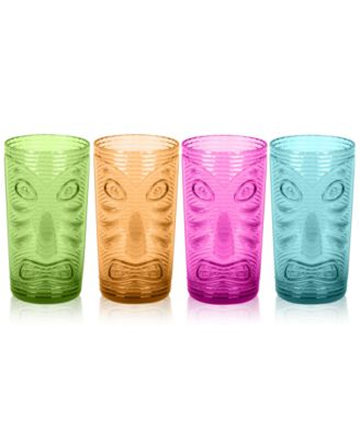 Tiki Jumbo Plastic Glasses, Set of 4